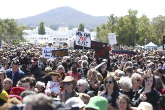 Thousands gathered at Parliament House for the Women's March 4 Justice