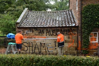 Graffiti on the cottage in 2014.