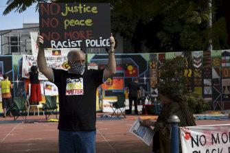 Former police officer Stephen Bell at a Lismore Black Lives Matter protest in July.