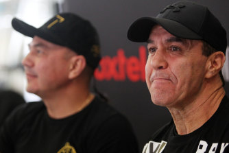Jeff Fenech (right) is recovering after his heart operation in Thailand this month.