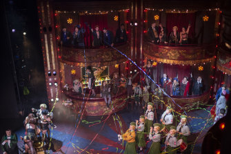 The set of La Boheme with Helen Pitt in the balcony top right.