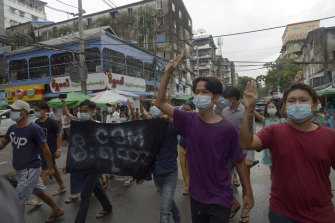 Anti-coup protesters during a demonstration against the military takeover, in Yangon, Myanmar, on Monday, May 24.