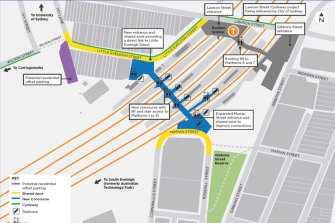 Map of the Redfern station upgrade.
