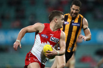 Tom Papley on the run against the Hawks last month.