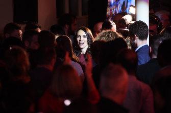 Jacinda Ardern celebrates her win this evening.