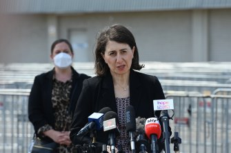 NSW Premier Gladys Berejiklian during her COVID-19 update at the Glenquarie Town Centre in Macquarie Fields on Friday.