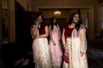 Swathi Shan, Neha Sobin, and Induni Atapattu at the St George Girls High School formal.