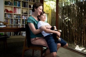 Amber Jackson, with her son, Monte. Amber grew up in the Amazon Acres Women's Commune in Northern NSW and is one of the speakers at the All About Women Festival in Sydney.