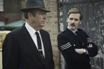 Shaun Evans (right) plays the young detective Morse, pictured with Roger Allam as DCI Fred Thursday, in the masterful prequel Endeavour.