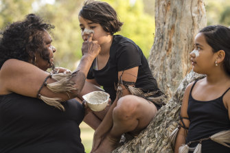 Gracie's Grannies are an Aboriginal dance group based in Western Sydney which celebrates Aboriginal dance, culture and language. From left, Aunty Rita Wright, Punta Williams and Lani Setu.