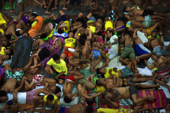 Some of the 3562 Inmates, incarcerated as part of the Philippines drug war, sleep in Quezon City Jail, Manila, in 2016.
