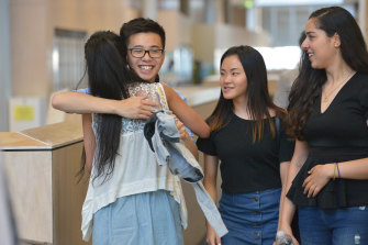 Nossal High School students celebrating their VCE results in 2015.