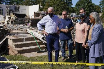 US President Joe Biden tours a New Jersey neighbourhood hit by Hurricane Ida.