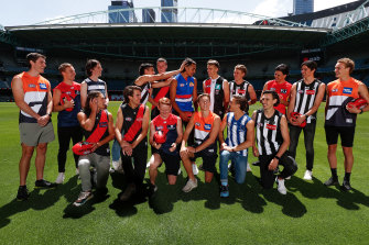 The Victorian first-round draft picks pose for a photo at Marvel Stadium on Thursday.