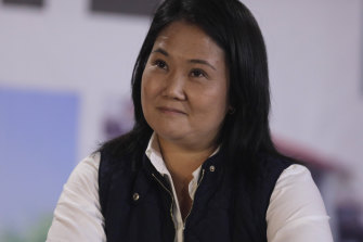 Presidential candidate Keiko Fujimori at her campaign headquarters after claiming electoral irregularities, in Lima.