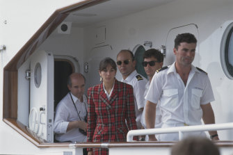 Ghislaine Maxwell and crew on her father's yacht, the Lady Ghislaine, in Tenerife. Ghislaine's father, Robert Maxwell, disappeared from the yacht and his body was later found in the sea. His death was ruled an accident.