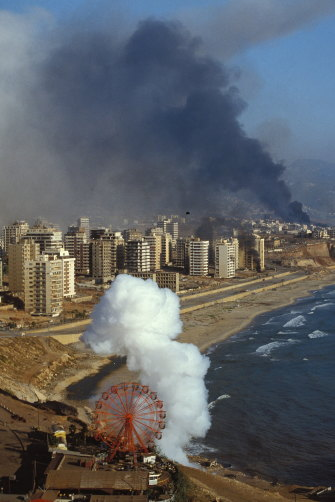 Beirut is bombed by Israeli forces during war in 1982.