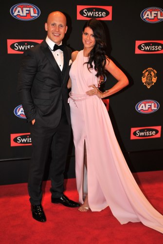 2013: Jordan Ablett (nee Papalia) at her first Brownlow with Gary Ablett Jr.