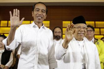 Joko Widodo, left, and his Vice-President Maruf Amin.