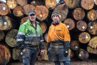 Mark Hack and Mick Swain, workers at the Longwarry Sawmill.