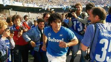 Diego Maradona entering the San Paolo stadium, in Italy. Director Asif Kapadia's film about Maradona is now in cinemas.