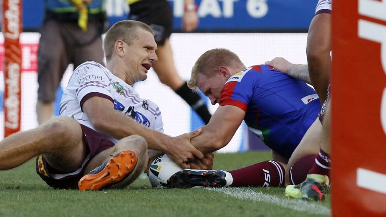 Test to come: Slade Griffin scores against Manly. The Knights are now primed for a tough batch of away games.