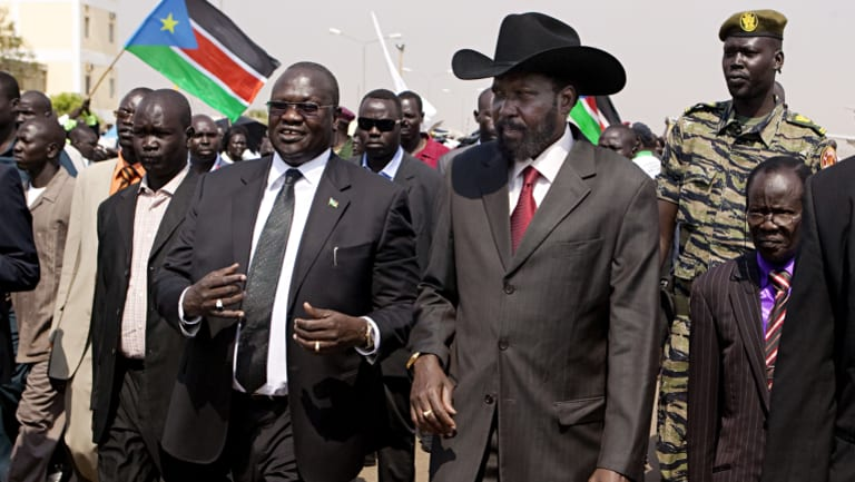 South Sudanese President Salva Kiir, right, with his rival and then vice-president Riek Machar in 2015.