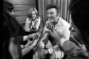 Entertainer Liberace at a press conference at Mascot Airport on October 18, 1971.