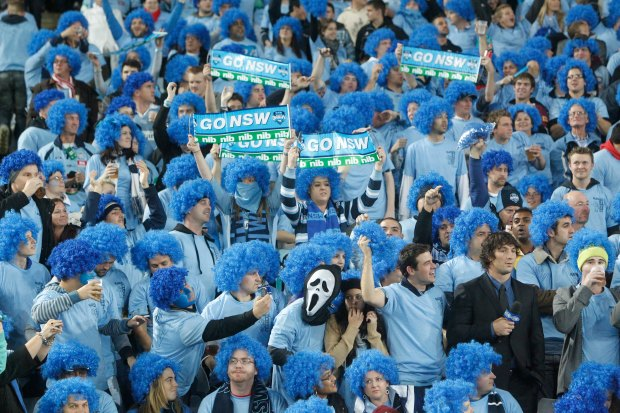 The Stadium Australia crowd supporting the NSW Blues.