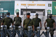 Pakistan troops stand guard outside the Pindi Cricket Stadium.