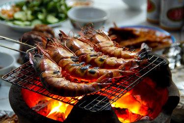 Barbecued prawns, grilled shrimp.