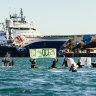 Protesters take to water over King Island oil and gas search
