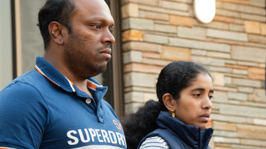 Aswath Chavittupara and Prasitha Sasidharan outside their Morley home on Thursday.