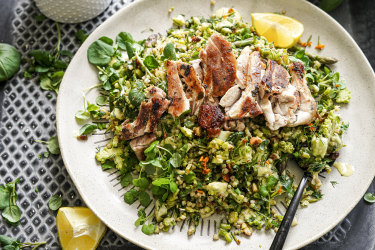 Grilled chicken with spring greentabboulehand tarragon dressing.