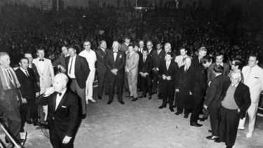Various boxing identities are cheered at Sydney Stadium on June 9, 1970.