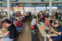 Singapore has more than 100 open-air hawker centre food markets with meals usually priced at $SGD5 or less.
