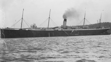 Butler sneaked on board the HMAT Suevic, pictured here in Sydney Harbour circa 1930, and hid in a lifeboat, before being discovered out at sea two days later.