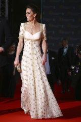 Catherine, Duchess of Cambridge, in her Alexander McQueen dress at the BAFTAs.