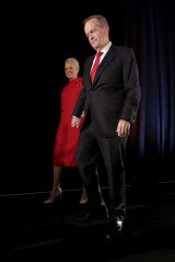 Opposition leader Bill Shorten, with his wife Chloe, concedes defeat to Prime Minister Scott Morrison during his election night function at Hyatt Place, Melbourne on May 19, 2019.