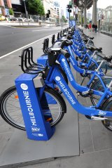 The bikes lined up outside Southern Cross station when they were rolled out in 2010.