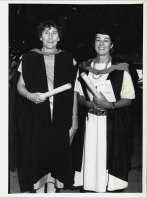 Brenda Duchen with Lois McDonald after receiving their diplomas at the University of NSW in 1984.