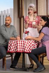 Keegan-Michael Key, Dove Cameron and Cecily Strong in <i>Schmigadoon!</i>