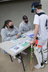 Newport COVID officers check players into training.