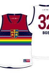 Brighton Grammar School's Pride football jersey designed by Jonathan Ward.