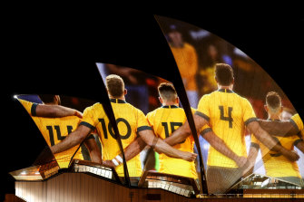 Sydney Opera House was lit up with images of the Wallabies as part of Australia's 2027 Rugby World Cup bid launch on Thursday night.