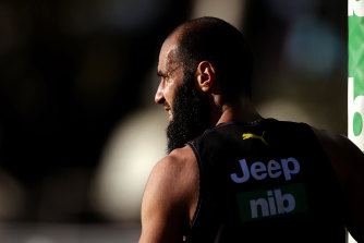 Isolated: Bachar Houli trained away from the main group on Monday as he recovers from injury.