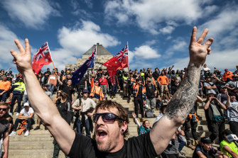 Hundreds of protesters marched through Melbourne on Wednesday.