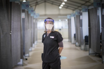 """""""Nobody expects to come to work and experience violence and aggression,"""" says nurse unit manager at the Showgrounds Vaccination Hub Alison Lamb."""