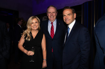 Sydney Morning Herald editor Lisa Davies, Nine Entertainment Co chairman Peter Costello and News Corp Australia co-chairman Lachlan Murdoch.