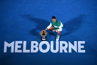 Novak Djokovic is right at home on Rod Laver Arena.